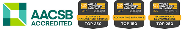 QS rankings and AACSB logos