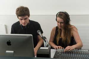 Bachelor of Communication students in the audio recording studio