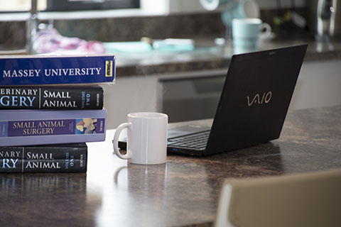 A stack of text books and a laptop