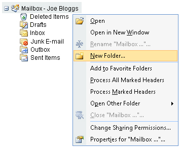 how to create an archive folder in outlook 2007