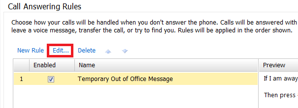 Voice mail how to setup a rule for temporary or out of office voice on m4hsunfo