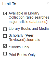 Limit to print or ebooks in Discover