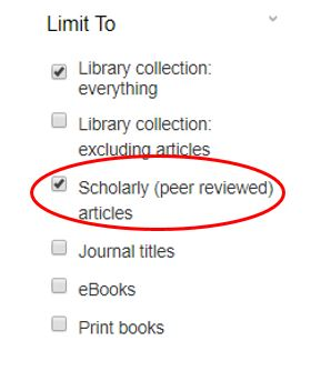 Screen shot showing a check box peer-review limit