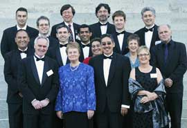 Vice-Chancellor Professor Judith Kinnear with all the medal winners. From left; Te Kana Kingi, Eljohn Fitzgerald, Barry Scott, Glen Pettigrove, Steve Stannard, Malcolm King, Professor Kinnear, Ajay Awati, Amohia Boulton, Brendon Stevenson, Chris Cunningham, Ben Marshall, Maureen Holdaway, Heather Gifford, John Waldon and Neil Pearce.