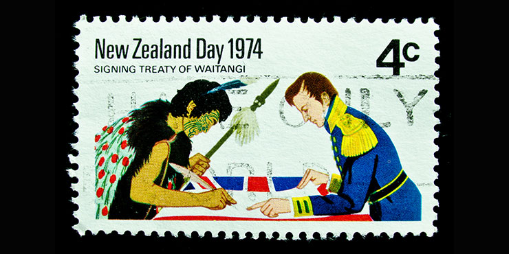 Stamp showing the signing of the Treaty of Waitangi