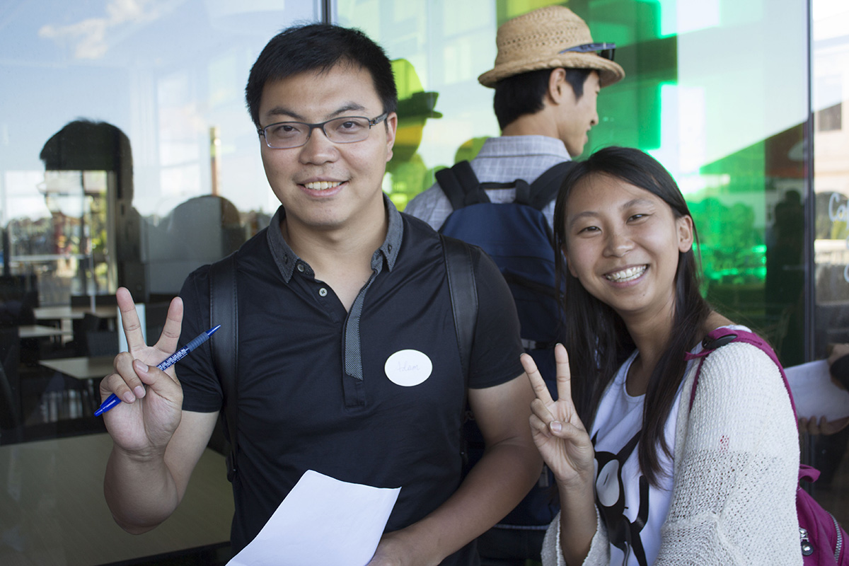 Three international students at Open Days