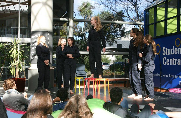 High School students from St Cuthbert's College take part in a creative activism conference at Massey University.