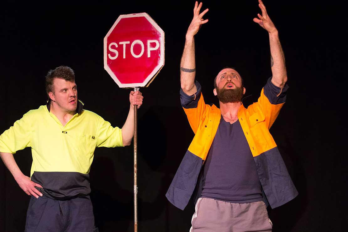 Kiwi road workers' banter makes London stage