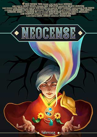 Poster for Neocense, a 2D isometric puzzle game made by Ebeney Russell, Sage Templeton, Sissi Nguyen, Luca Rosseels, Malachi Johnstone Clive Cooper, Syafiq Imran, Scott Hakkaart- Lead Animator and Tyler Mcluckie.